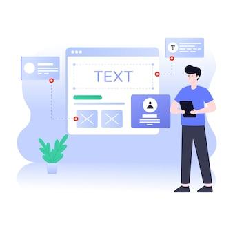 Eine illustration des website-prototyping-flat-designs