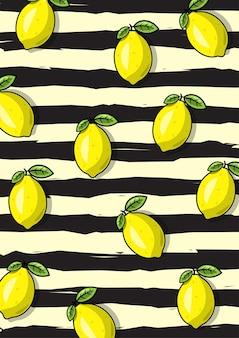 Eine illustration des zitronenfruchtmusters mit schwarzem streifenhintergrund