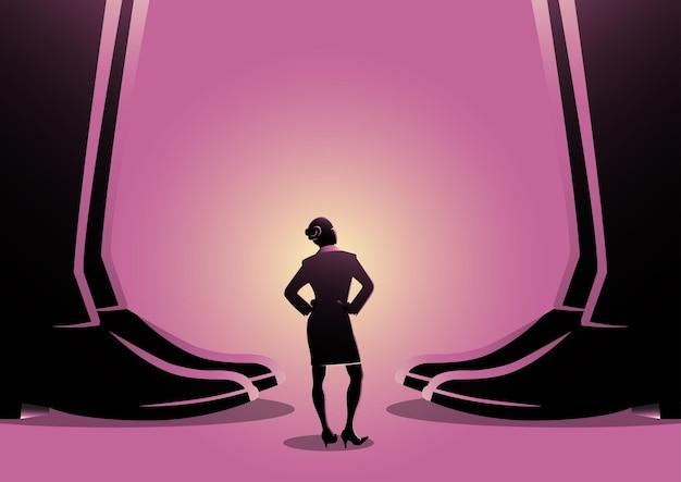 Eine illustration einer geschäftsfrau, die zwischen den beinen der riesigen männer steht. autorität, gender-themenkonzept