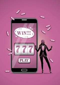 Eine illustration einer glücklichen geschäftsfrau, die super aufgeregt ist, um jackpot zu erhalten online-casino, konzept der finanziellen freiheit.