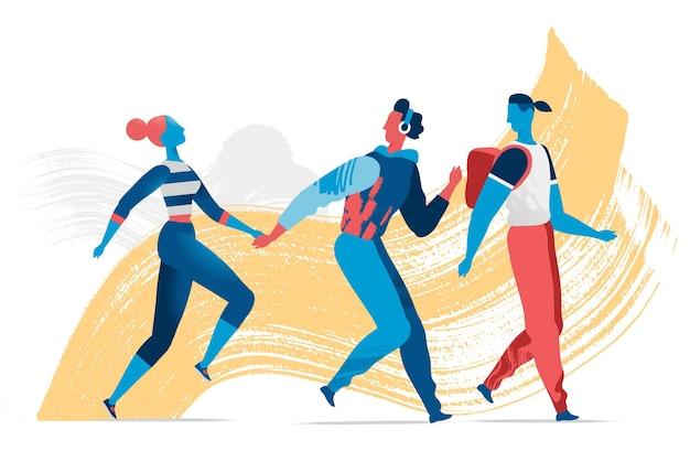 Eine illustration einer gruppe junger glücklicher menschen, die zusammen gehen walking