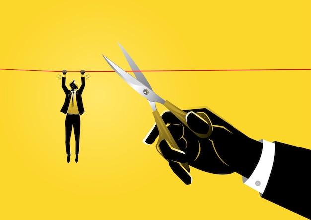 Eine illustration eines geschäftsmannes, der an einem seil hängt, während eine riesige hand mit einer schere das seil schneidet
