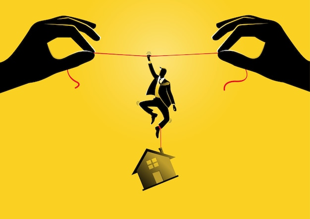 Eine illustration eines geschäftsmannes, der an einem seil mit einem haus hängt, das an seinen füßen hängt