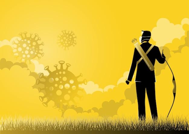 Eine illustration eines geschäftsmannes, der einen bogen hält und aus den wolken schaut. covid-19 wirkt sich auf das geschäft aus