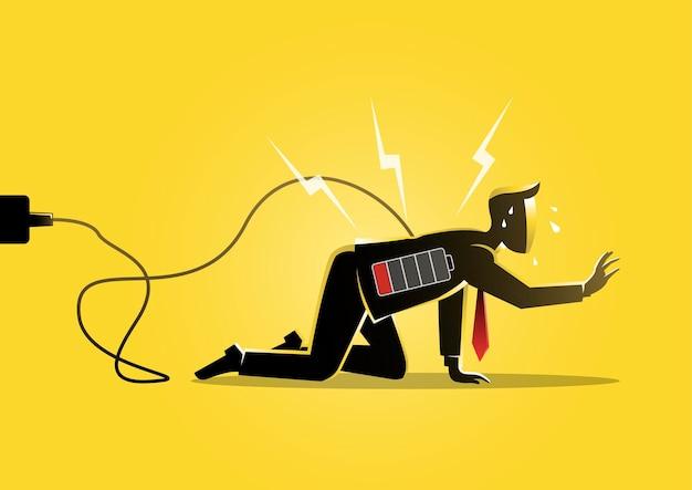 Eine illustration eines geschäftsmannes, der mit schwacher batterieanzeige auf dem boden kriecht. müdes, energiesparkonzept