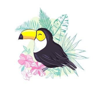 Eine illustration eines schönen tukans.