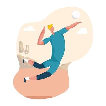 Eine illustration eines volleyballspielers, der aufschlag macht