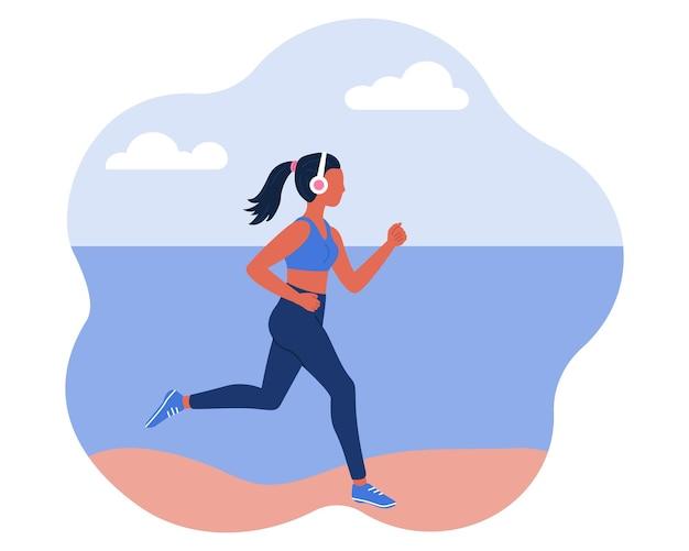 Eine illustration im flachen stil, in der ein mädchen mit kopfhörern am strand entlang läuft