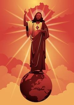 Eine illustration von jesus, der ein fest zu ehren seines herzens, des heiligsten herzens jesu, verlangt. biblische reihe