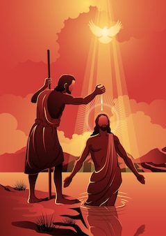 Eine illustration von jesus, der von johannes dem täufer getauft wurde. biblische reihe