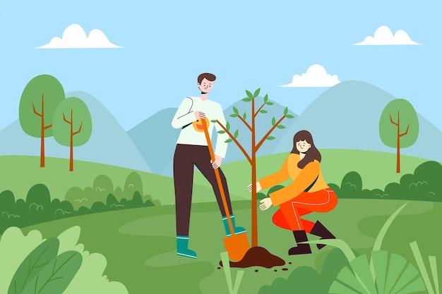 Eine illustration von leuten, die bäume im freien pflanzen