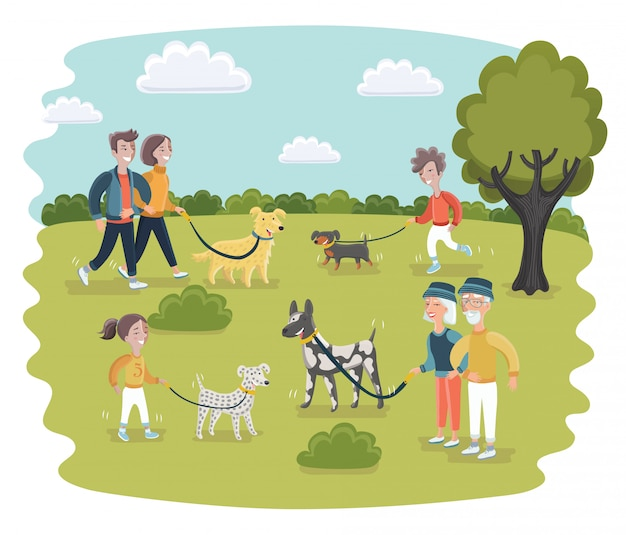 Eine illustration von leuten, die in einem hundepark gehen