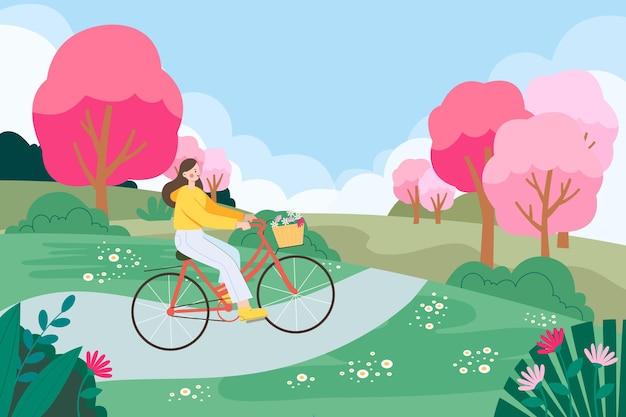 Eine illustration von mädchen, die auf einem frühlingsausflug ausgehen