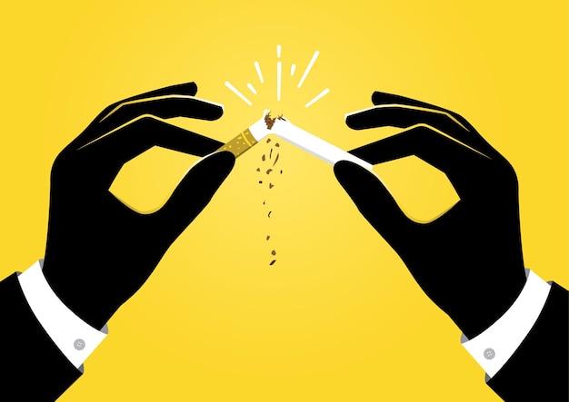 Eine illustration von zwei händen bremst eine zigarette in zwei
