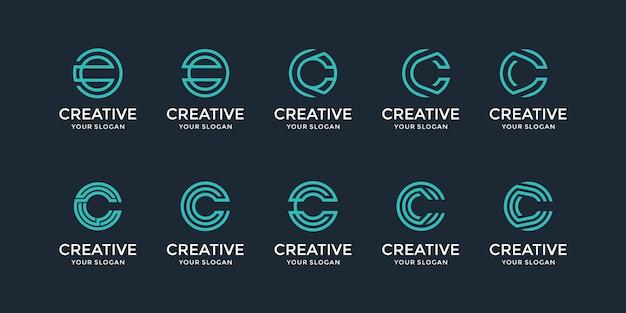 Eine inspirationssammlung für das logo-design des buchstabens c.