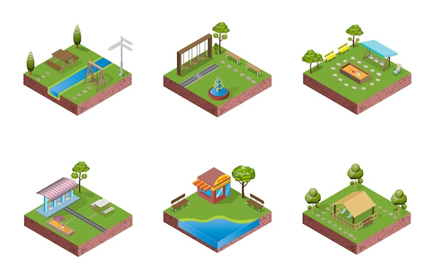 Eine isometrische blockpark-illustration funktioniert wie ein puzzle