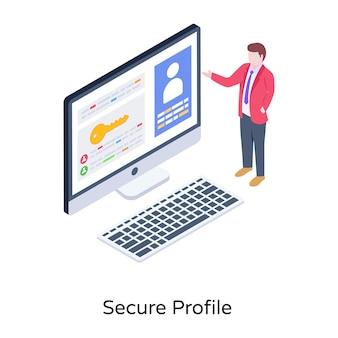 Eine isometrische darstellung eines sicheren profils