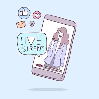 Eine junge dame überträgt eine live-übertragung über ein smartphone.