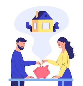 Eine junge familie wirft geld in ein sparschwein, um ein haus zu kaufen. konzept für den hauskauf. cartoon-stil
