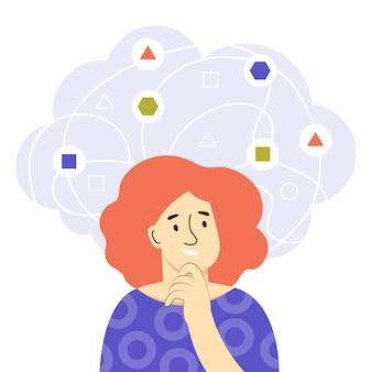Eine junge frau denkt darüber nach, probleme zu lösen. mind-verhaltenskonzept. entscheidungsfindung und logisches denken bei schwierigen aufgaben. problemmanagement mit analysefähigkeiten. flache vektorillustration der farbe