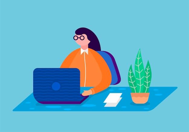 Eine junge frau des geschäfts, die in einem büro arbeitet. vektor-illustration