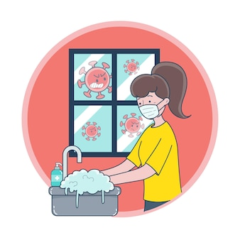 Eine junge frau, die eine maske trägt und ihre hände wäscht, um keime zu verhindern
