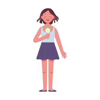 Eine junge frau hält einen elektrischen handventilator an einem sehr heißen tag