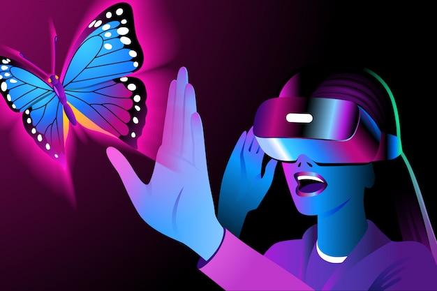 Eine junge frau in einem vr-headset sieht sich um und berührt einen virtuellen schmetterling. sturzhelm der virtuellen realität auf einem schwarzen hintergrund