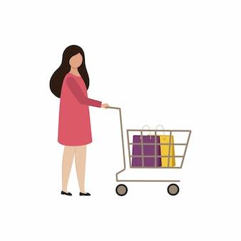 Eine junge frau mit einem einkaufswagen geht in den laden. flache vektorzeichnung eines mädchens. frau beim einkaufen. aktionen, rabatte, verkäufe.