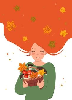 Eine junge frau mit roten haaren umarmt einen korb voller pilze und kleeblätter.