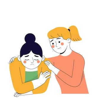 Eine junge frau umarmt ihre freundin, weil ihre freundin traurig ist