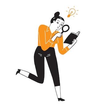 Eine junge geschäftsfrau oder mitarbeiterin eines unternehmens liest mit einer lupe deutlich, als hätte sie eine neue idee. handzeichnungsvektorillustration