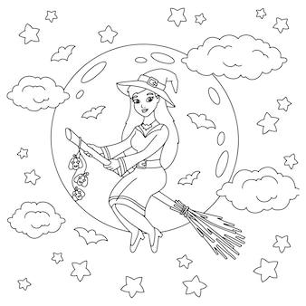 Eine junge hexe fliegt nachts auf einem besen malbuchseite für kinder