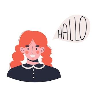 Eine junge lächelnde frau sagt hallo in deutscher sprache. frau spricht deutsch flache vektorillustration