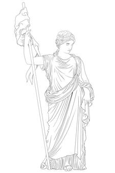 Eine junge schlanke frau in einer antiken griechischen tunika mit einem wimpel in der hand.