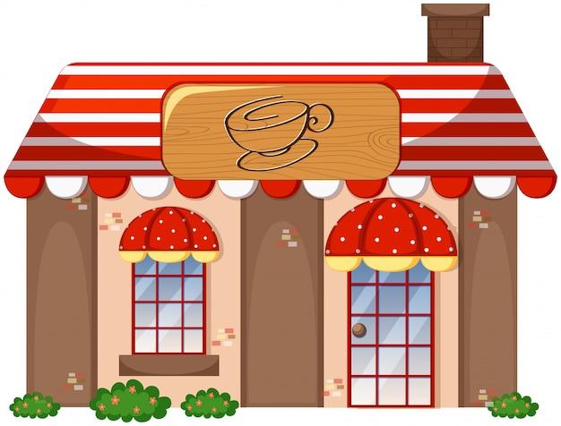 Eine kaffeestube auf weißem hintergrund