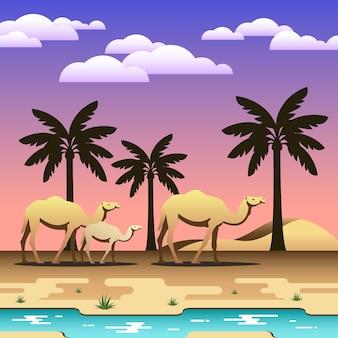 Eine karawane von kamelen