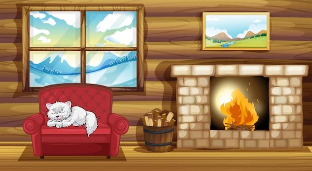 Eine katze, die am sofa nahe dem kamin schläft