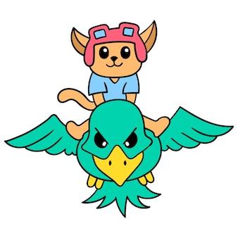 Eine katze mit einem fliegenden pilotenhelm reitet einen riesigen adler durch den weltraum, vektorgrafiken. doodle symbolbild kawaii.