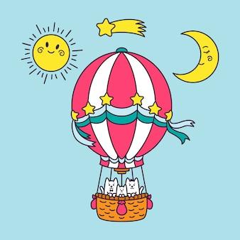 Eine katzenfamilie fliegt im ballon um die welt.
