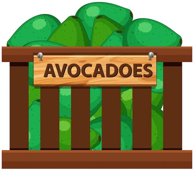 Eine kiste avocados
