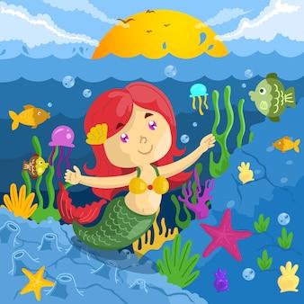 Eine kleine meerjungfrau, die auf dem meer mit fisch-, korallen- und meerespflanzenillustrations-karikatur schwimmt