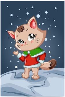Eine kleine und schöne braune katze, die im nachtwinter weihnachtskostüm trägt