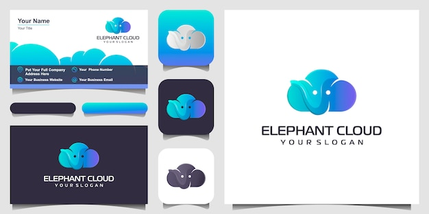Eine kombination aus wolken und elefanten logo design inspiration, satz visitenkarte