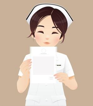 Eine krankenschwester, die eine quittung für medizinische ausgaben hält. vektorillustration und charakterdesign.