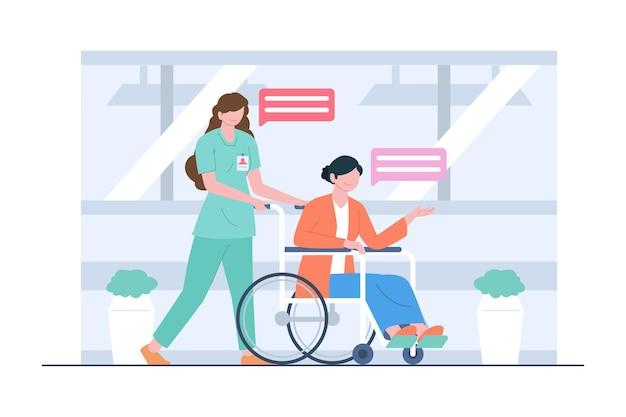 Eine krankenschwester, die einen patienten durch rollstuhlszenenillustration behandelt