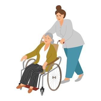 Eine krankenschwester trägt eine ältere frau im rollstuhl.
