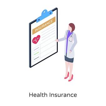 Eine krankenversicherungsillustration im isometrischen design