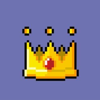 Eine krone mit rubin im pixel-art-stil