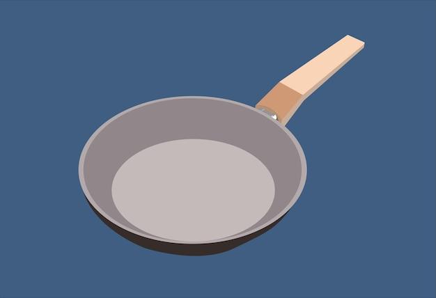 Eine küchenpfanne mit einem braunen holzgriff